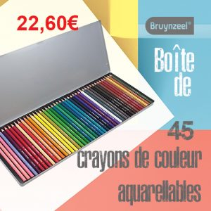 Boîte de 45 crayons de couleur aquarellables Bruynzeel